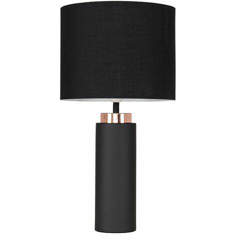 Black / Copper Table Lamp + Black Shade 4W LED Bulb Warm White