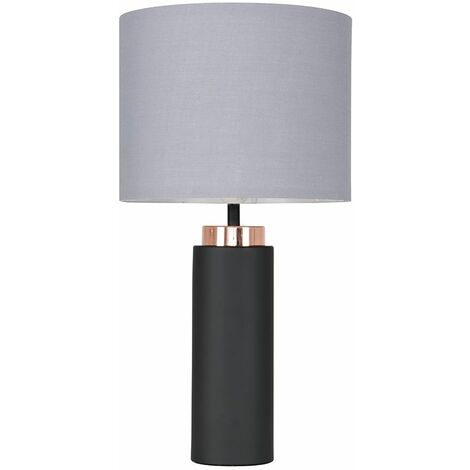Black / Copper Table Lamp + Grey Shade 4W LED Bulb Warm White