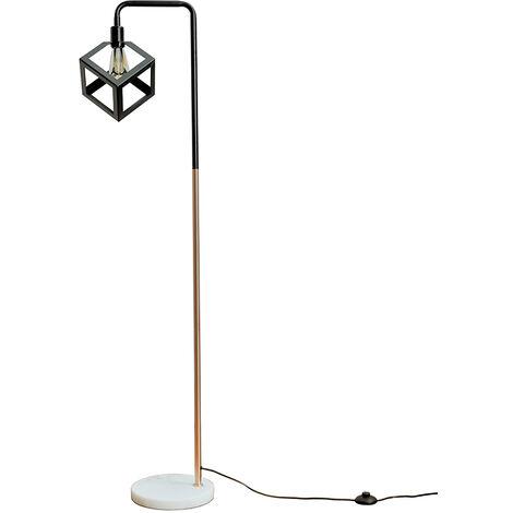 Black & Copper & White Marble Floor Lamp 4W LED Filament Bulb