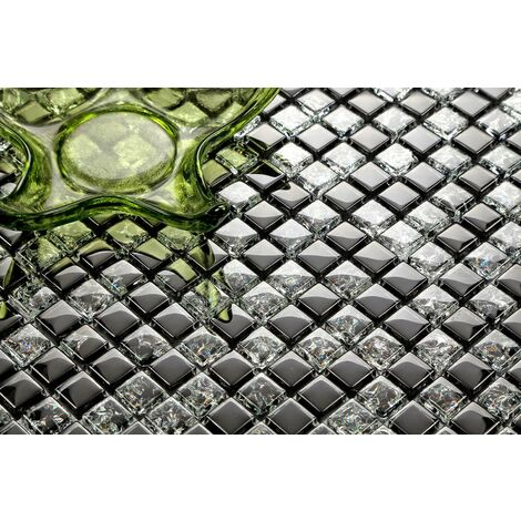 Black Crackle And Plain Mix Glass Mosaic Wall Tiles MT0043