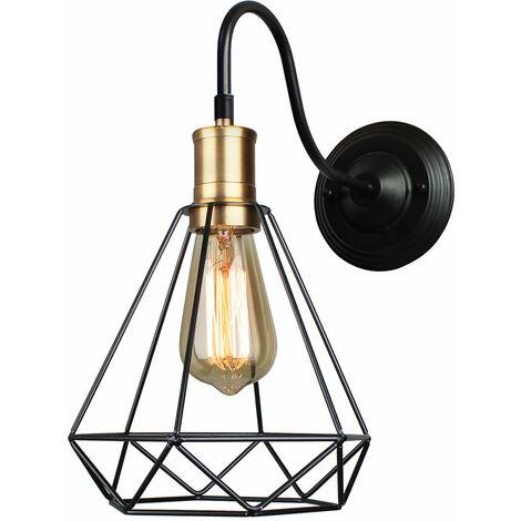 Black Creative Retro Diamond Chandelier Cage Simple Ceiling Light Vintage Industrial Pendant Light for Indoor Decoration E27 Bulb