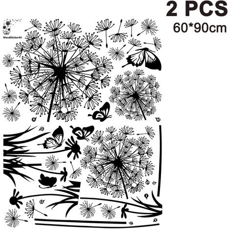 Black Dandelions and Butterflies Flying in the Wind Wall Stickers, Living Room Bedroom Removable Wall Stickers Murals