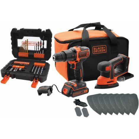 BLACK+DECKER 18V Combo-Kit BCK23S1SA41: Akku-Schlagbohrschrauber + Akku-Mouse, schwarz/orange