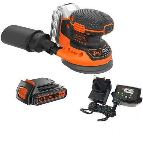 Black & Decker 18V Cordless Orbital Sander 125mm x1 1.5ah Batteries BDCROS18-GB
