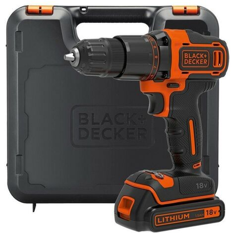 Black & Decker 18V Volt Cordless Combi Hammer Drill Lithium Ion Battery and Case