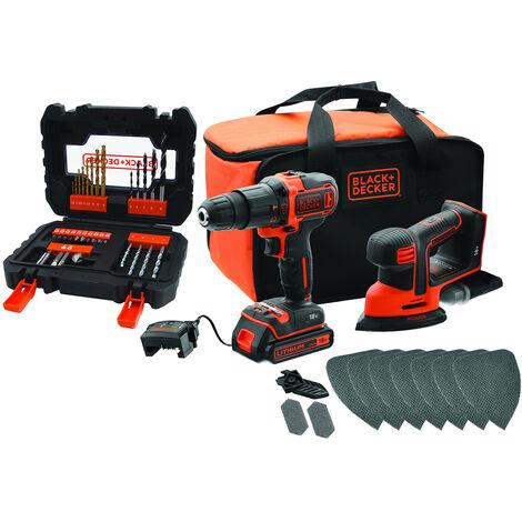 Black & Decker Combo-Kit: 2-Gang Akku-Schlagbohrschrauber, Akku-Mouse, Zubehör-Set, 18V, 1,5Ah - BCK23S1SA41