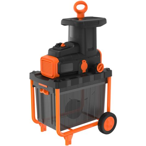 BLACK+DECKER Elektro-Leisehäcksler BEGAS5800, Häcksler, schwarz/orange, 2.800 Watt