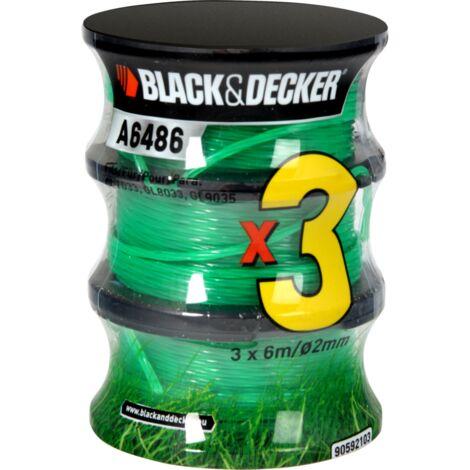 BLACK+DECKER Fadenspule Reflex A6486, Mäh-Faden, 6 Meter, Ø 2mm, 2+1 Vorteilspack