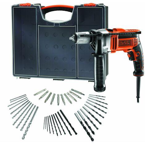 BLACK+DECKER KR806OA-QS Trapano a Percussione Reversibile, 850 W, con Extra Accessori, Arancione/Nero