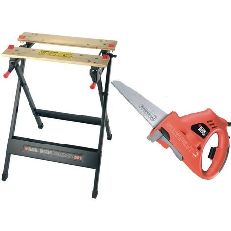 Black Decker KS890 Scorpion Hand Reciprocating Saw Jigsaw & WM301 Work Bench