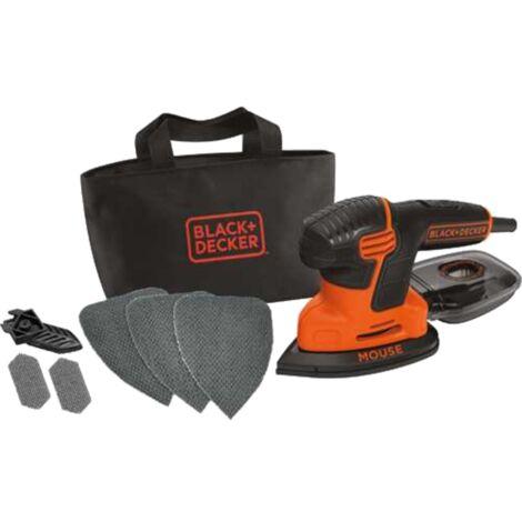 BLACK+DECKER Mouse-Schleifer KA2000, Deltaschleifer, orange/schwarz, 120 Watt, mit Tasche u. 6-tlg.