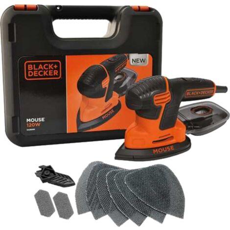 BLACK+DECKER Mouse-Schleifer KA2500K, Deltaschleifer, orange/schwarz, mit Koffer u. 9-tlg.