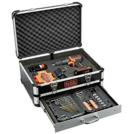 BLACK & DECKER - Perceuse a percussion - Batterie Li Ion 2x18 V + 80 accessoires en coffret - Noir et orange