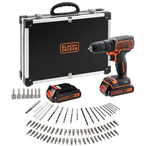 Black + Decker Perceuse sans fil 18V 1 vitesse en malette + 2 batteries 1.5Ah + chargeur rapide + 80 accessoires