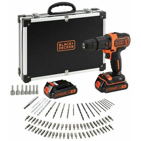 Black & Decker Perceuse-visseuse/ à percussion sans fil avec chargeur, 2 batteries de 1.5Ah et 80 accessoires - BDCHD18BAFC