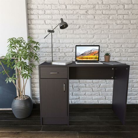Black Desk with Drawer & Cupboard for Home Office - Piranha Furniture Javelin - Black Woodgrain