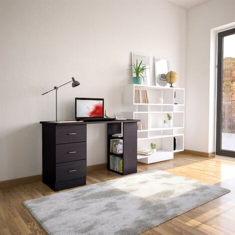 Black Desk with Drawers & Storage for Home Office - Piranha Furniture Guppy - Black Woodgrain