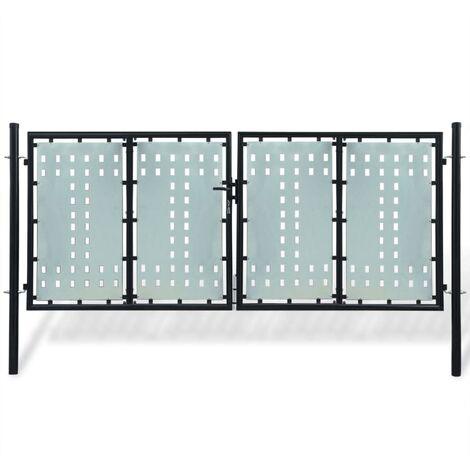 Black Double Door Fence Gate 300 x 175 cm
