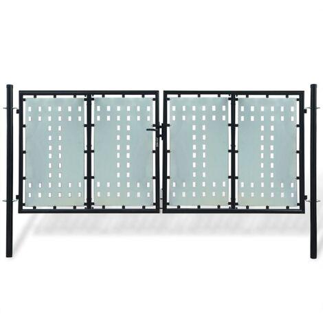 Black Double Door Fence Gate 300 x 175 cm - Black