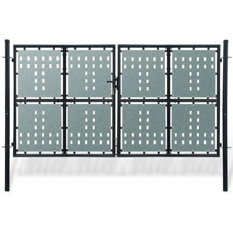 Black Double Door Fence Gate 300 x 200 cm VD04115