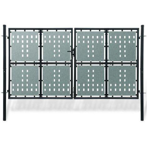 Black Double Door Fence Gate 300 x 225 cm VD04116