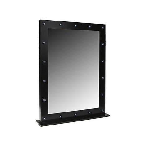 BLACK DRESSING ROOM LIGHTED MIRROR 80 X 60CM