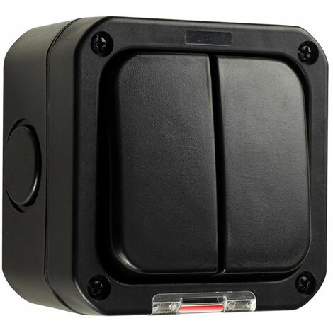 Black IP66 Durable Plastic Weatherproof Outdoor Garage 2 Gang Double Light Switch