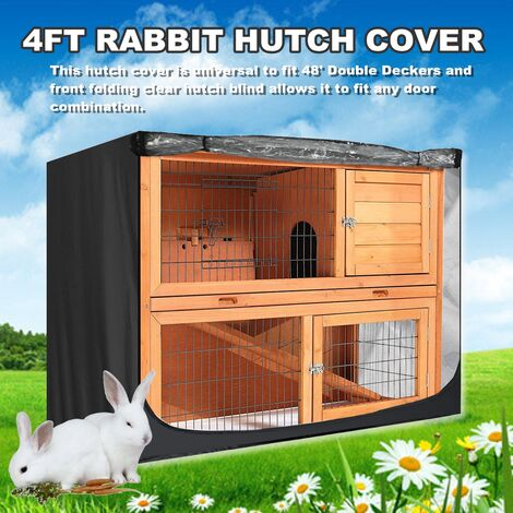 Black Dustproof Double Layer Rabbit Cage Hutch Cover Waterproof 210D Oxford 4FT
