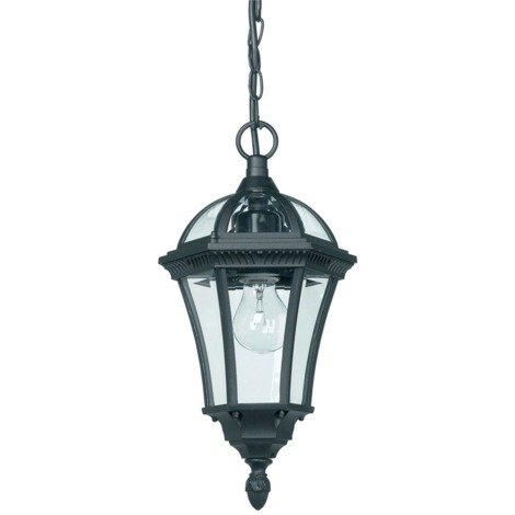 Black Exterior Hanging Porch Lantern Pendant Light by Happy Homewares