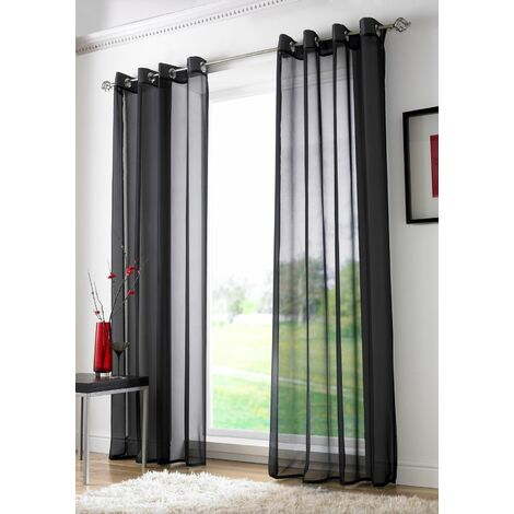 "Black Eyelet Ring Top Voile Curtain Panel 90"" Drop"