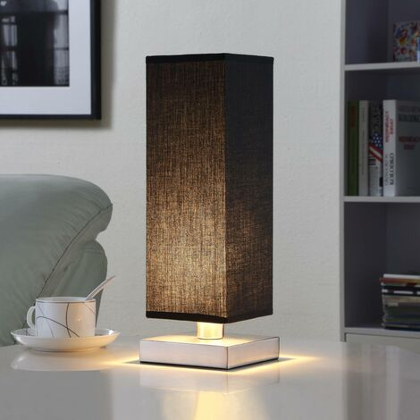 Black fabric table light Martje with LED light