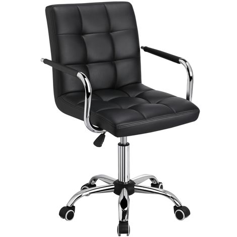 Black Faux Leather Home Office Computer Desk Chairs Swivel Stool Chair on Wheels