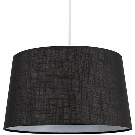 Black Faux Linen Ceiling Pendant / Table Lamp Light Shade - 10W LED Gls Bulb Warm White - Black