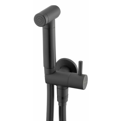 """main image of """"Black Finished Brass Bidet Tap Expendable Handle 1.5m Hose Angled Connection"""""""