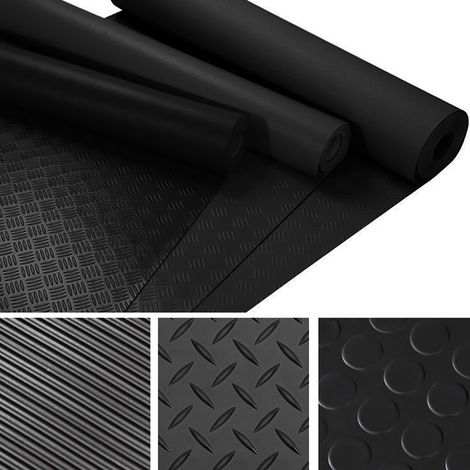 Black Floor Mat Anti-Slip Rubber Garage Van or Car Roll Mat Heavy Duty