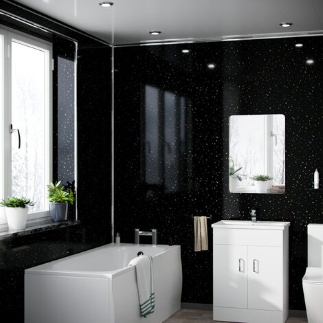 Black Galaxy 1.2 x 2.4 m Bathroom PVC Cladding Shower Wet Wall Panels