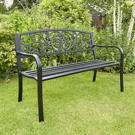 """main image of """"Black Garden Bench Metal 2 Seater Patio Chair Outdoor Seating Ornate Design"""""""