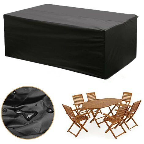 """main image of """"Black Garden Patio Table Cover Waterproof Dustproof Outdoor Furniture Table and Chairs Shelter"""""""