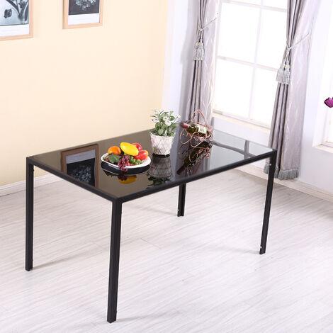 Black Glass Dining Table 140x80x75cm