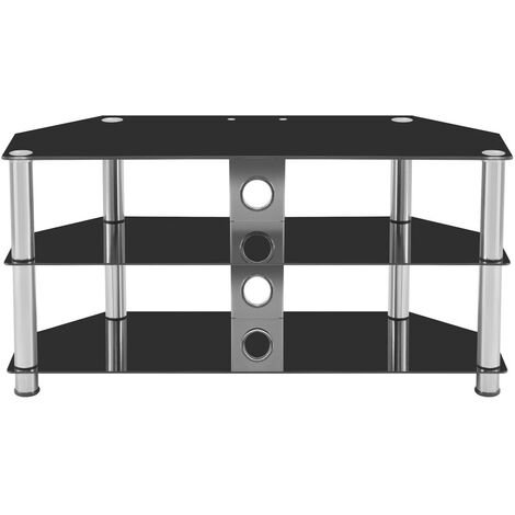 """main image of """"Black Glass TV Stand For Most 4K 8K QLED TVs LCD & Plasma Television up to 60 inch (100cm)"""""""