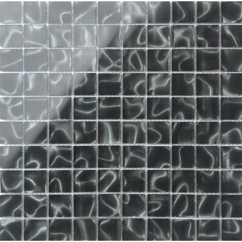 Image of 318 x 318mm Black Glass with Grey Holographic Effect Glass Mosaic Tile Sheet ( MT0135)
