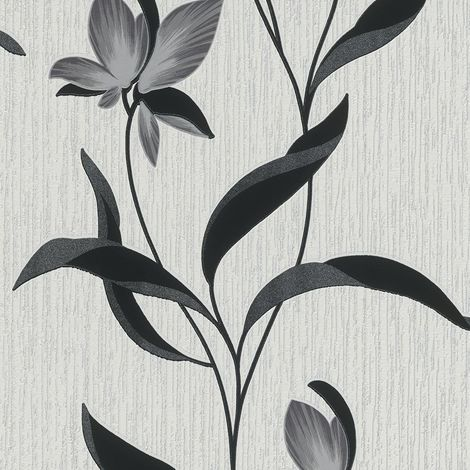 Black Glitter Flower Wallpaper Erismann Blown Vinyl Textured