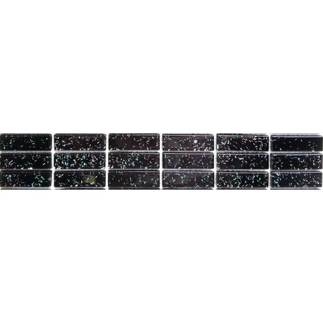 Black Glitter Glass Brick Walls Borders Splashbacks Mosaic Tiles MT0010
