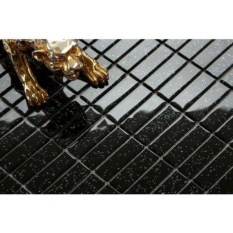 "main image of ""Black Glitter Glass Brick Walls Borders Splashbacks Mosaic Tiles MT0010"""