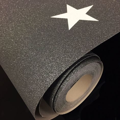 Black Glitter Star Galaxy Planets Wallpaper Paste The Paper Vinyl AS Creation