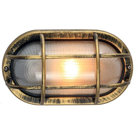Black/Gold Cast Aluminium Outdoor Oval Bulkhead Wall Light by Happy Homewares