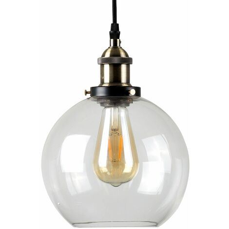 Black & Gold Ceiling Pendant & Clear Glass Globe Light Shade + 4W LED Filament Es E27 Amber Light Bulb - Black