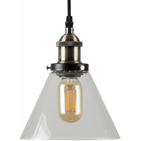Black & Gold Ceiling Pendant & Clear Glass Light Shade + 4W LED Filament Es E27 Amber Light Bulb - Black