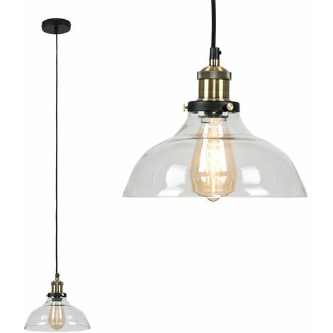 Black & Gold Ceiling Pendant & Wide Clear Glass Light Shade + 4W LED Filament Es E27 Amber Light Bulb - Black