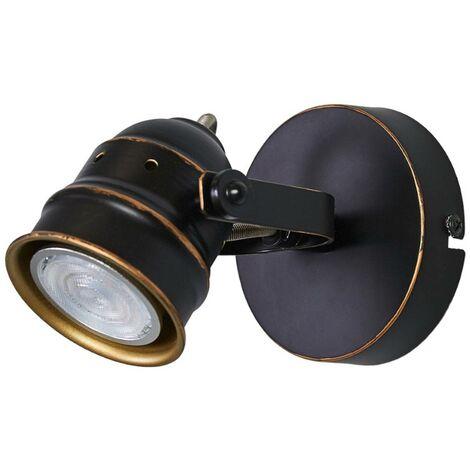 Black-gold GU10 spotlight Leonor, LED